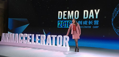 Heba Bevan on stage before Arm accelerator Demo day